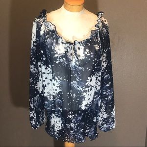 Lane Bryant Sheer Blue Floral Print Top EUC